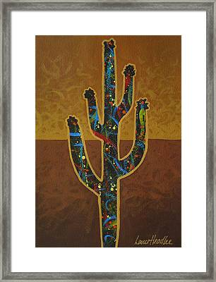 Framed Print featuring the painting Saguaro Gold by Lance Headlee