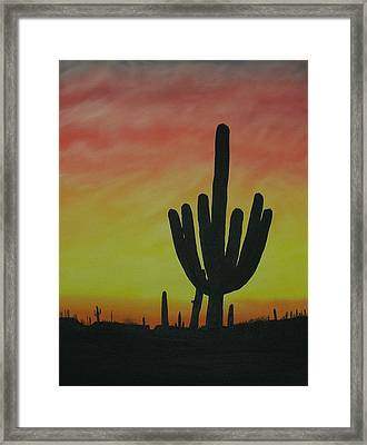 Saguaro Sunset Framed Print by Aaron Thomas