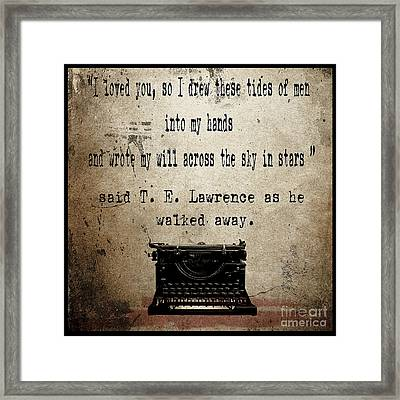 Said T E Lawrence Framed Print by Cinema Photography
