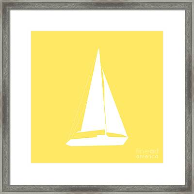 Sailboat In Yellow And White Framed Print