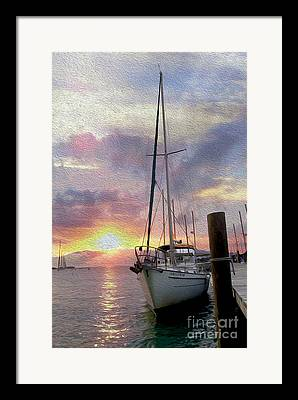 Docked Sailboat Mixed Media Framed Prints