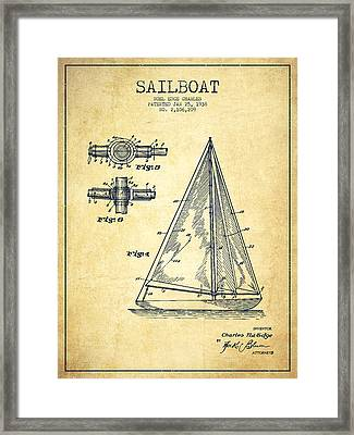 Sailboat Patent Drawing From 1938 - Vintage Framed Print by Aged Pixel
