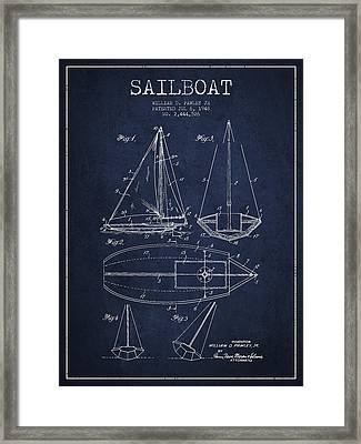 Sailboat Patent Drawing From 1948 Framed Print