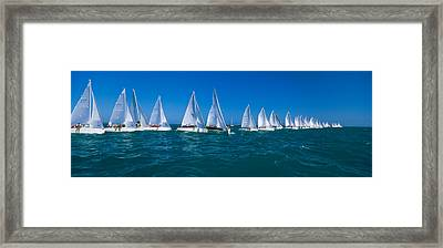 Sailboat Racing In The Ocean, Key West Framed Print by Panoramic Images