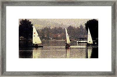 Sailing In The Rain Framed Print by Ron Regalado