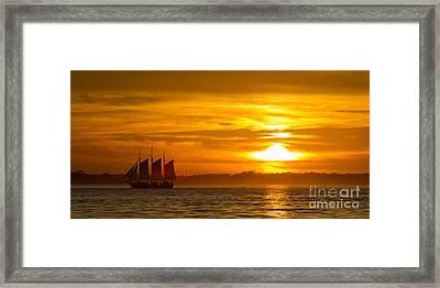 Sailing Yacht Schooner Pride Sunset Framed Print