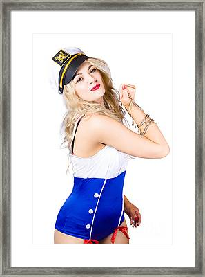 Sailor Fashion Model Wearing Expensive Jewelry  Framed Print