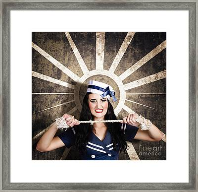 Sailor Girl Portrait. Vintage Design Background Framed Print by Jorgo Photography - Wall Art Gallery