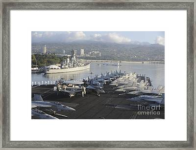 Sailors Man The Rails Of Uss Nimitz Framed Print by Stocktrek Images