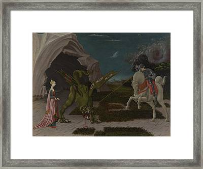 Saint George And The Dragon Framed Print by Paolo Uccello