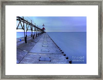 Saint Joseph Lighthouse And Pier Framed Print by Twenty Two North Photography