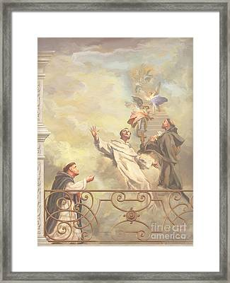 Saints Dominic Benedict And Francis Of Assisi II Framed Print by John Alan  Warford