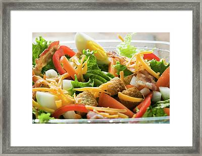 Salad Leaves With Vegetables, Egg, Cheese And Bacon To Take Away Framed Print