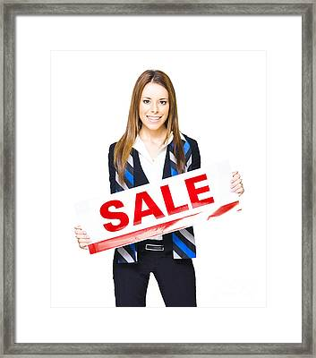Sales And Marketing Professional Displaying Sale Sign Framed Print by Jorgo Photography - Wall Art Gallery