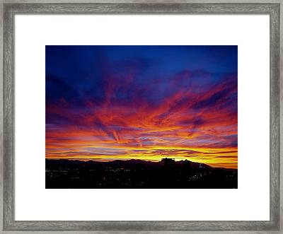 Salt Lake City Sunset Framed Print by Rona Black