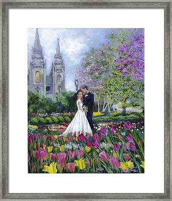 Salt Lake Temple-married In Spring Framed Print