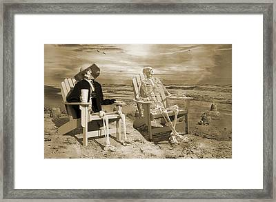 Sam Exchanges Tales With An Old Friend Framed Print by Betsy Knapp