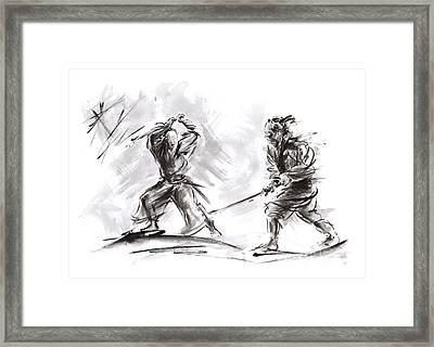 Samurai Fight. Framed Print