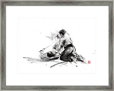 Samurai Sword Bushido Katana Martial Arts Budo Sumi-e Original Ink Painting Artwork Framed Print by Mariusz Szmerdt