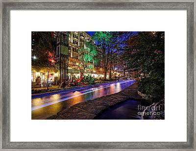 San Antonio Riverwalk Paseo Del Rio During Christmas - Texas Framed Print