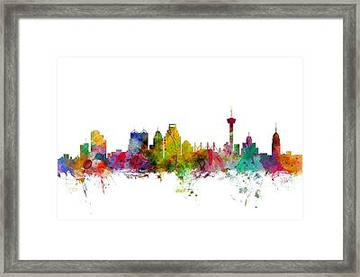 San Antonio Texas Skyline Framed Print by Michael Tompsett