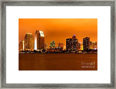 San Diego Skyline At Night Framed Print