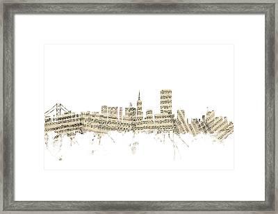 San Francisco Skyline Sheet Music Cityscape Framed Print by Michael Tompsett