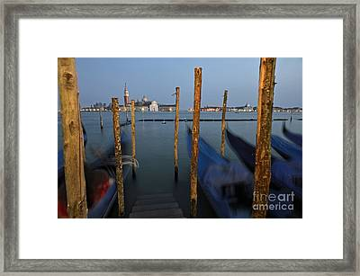 San Giorgio Maggiore Church And Gondolas At Dusk Framed Print by Sami Sarkis