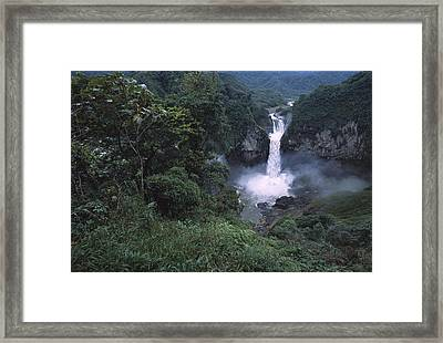 San Rafael Falls On The Quijos River Framed Print by Pete Oxford