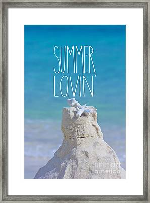 Summer Lovin' Sandcastle With Coral Turquoise Sea Framed Print
