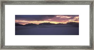 Sand Dunes In A Desert At Dusk, White Framed Print by Panoramic Images