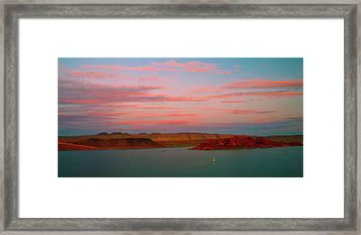 Sand Hollow River  Sunset 1 Framed Print by Gilbert Artiaga