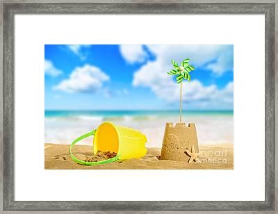 Sandcastle On The Beach Framed Print by Amanda Elwell