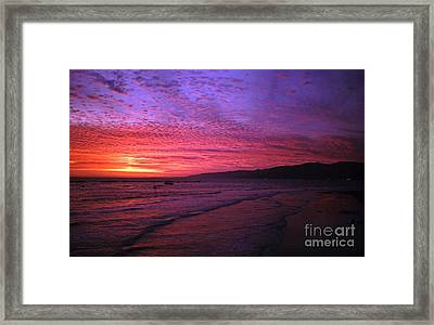 Santa Monica Beach Sunset Framed Print