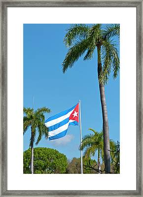 Santiago, Cuba, Cuban Flag Flying Framed Print
