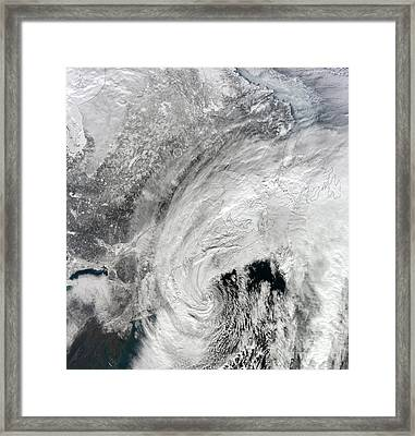 Satellite View Of A Large Noreaster Framed Print
