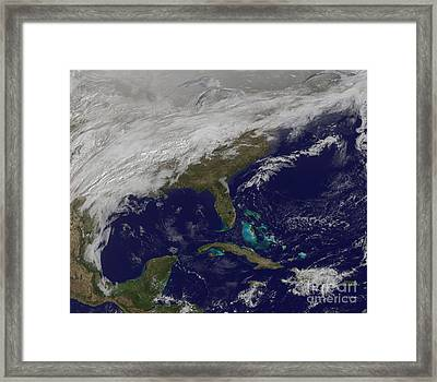 Satellite View Of A Major Winter Storm Framed Print by Stocktrek Images