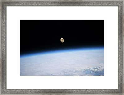 Satellite View Of Moon Over Southern Framed Print