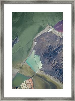 Satellite View Of Salt Evaporation Framed Print