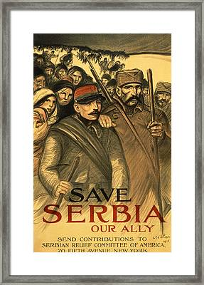Save Serbia Our Ally Framed Print by Theophile Alexandre Steinlen