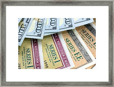 Savings Bond And Us Currency Framed Print