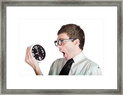 Scared Businessman With Clock Framed Print by Jorgo Photography - Wall Art Gallery