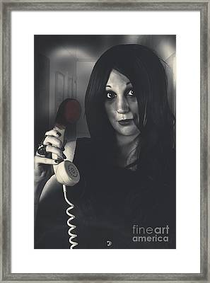 Scared Woman Making An Emergency Telephone Call Framed Print by Jorgo Photography - Wall Art Gallery