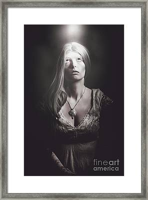 Scared Woman Trapped Down In A Dark Dungeon Framed Print by Jorgo Photography - Wall Art Gallery