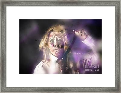 Scared Zombie Office Employee Stuck Behind Wall Framed Print by Jorgo Photography - Wall Art Gallery