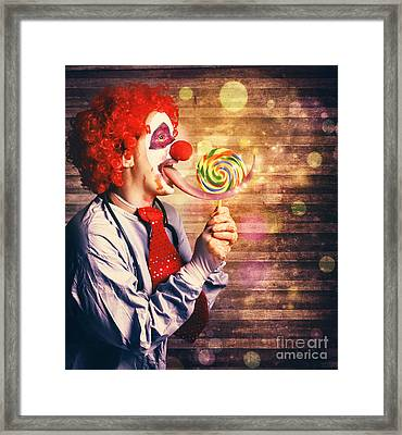 Scary Circus Clown At Horror Birthday Party Framed Print