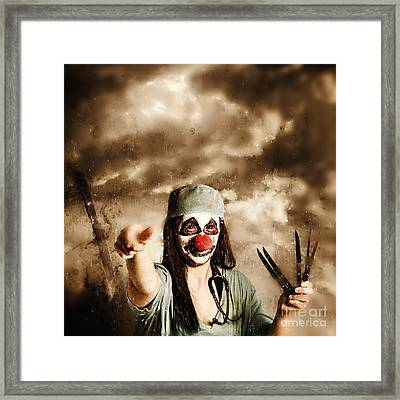 Scary Clown Doctor Throwing Knives Outdoors Framed Print