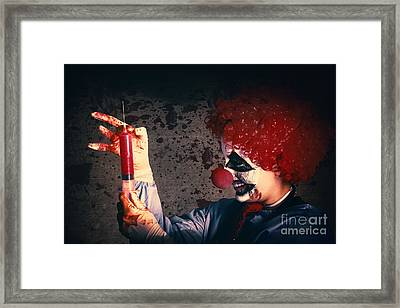 Scary Clown Giving Bad Medicine Vaccination Framed Print