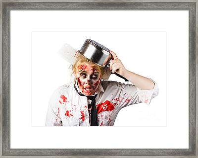 Scary Cook Making Mess With Jam Framed Print