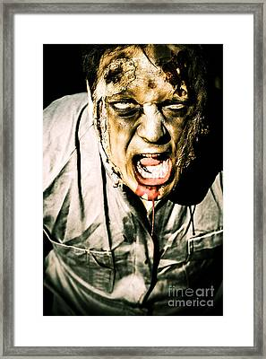 Scary Dark Horror Zombie Screaming Bloody Murder Framed Print by Jorgo Photography - Wall Art Gallery